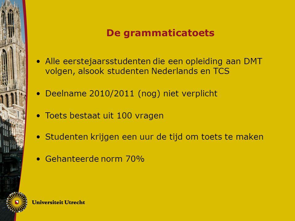 De grammaticatoets Alle eerstejaarsstudenten die een opleiding aan DMT volgen, alsook studenten Nederlands en TCS Deelname 2010/2011 (nog) niet verpli