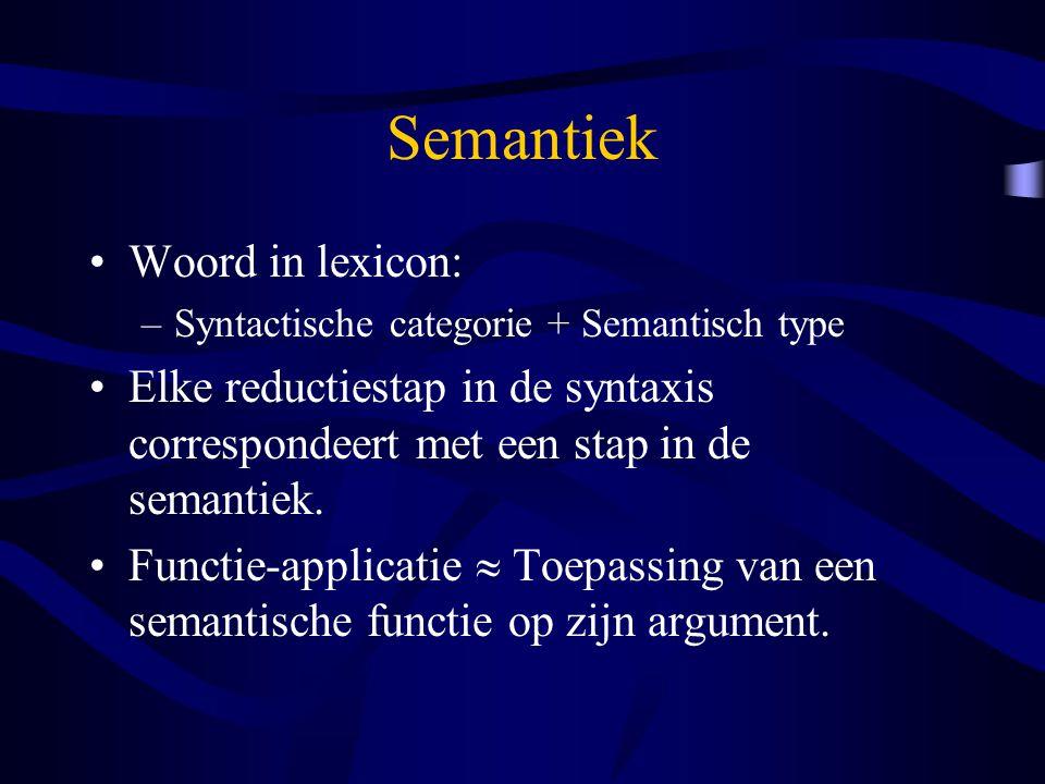 Semantiek Woord in lexicon: –Syntactische categorie + Semantisch type Elke reductiestap in de syntaxis correspondeert met een stap in de semantiek. Fu