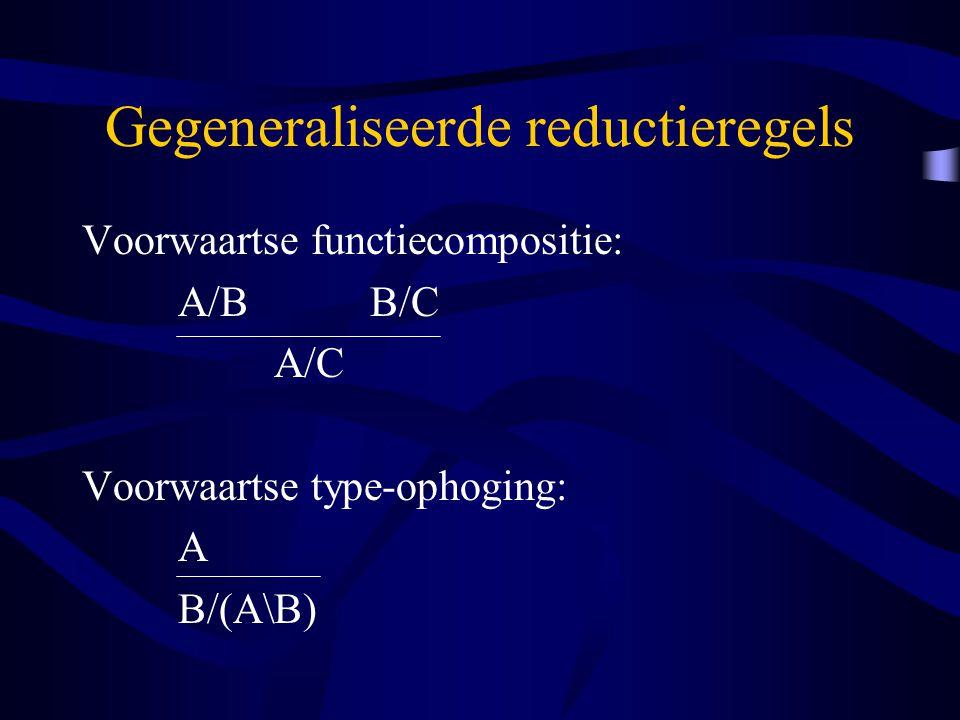 Gegeneraliseerde reductieregels Voorwaartse functiecompositie: A/BB/C A/C Voorwaartse type-ophoging: A B/(A\B)
