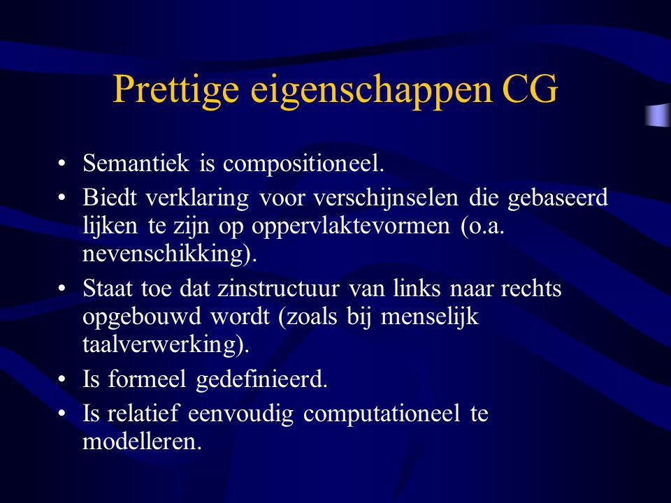 Prettige eigenschappen CG Semantiek is compositioneel. Biedt verklaring voor verschijnselen die gebaseerd lijken te zijn op oppervlaktevormen (o.a. ne