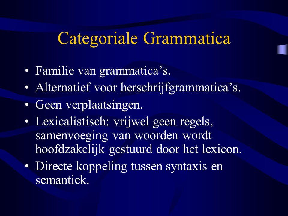 Categoriale Grammatica Familie van grammatica's. Alternatief voor herschrijfgrammatica's. Geen verplaatsingen. Lexicalistisch: vrijwel geen regels, sa