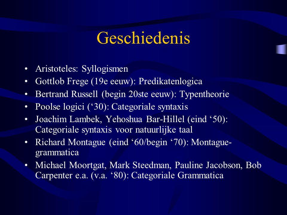 Geschiedenis Aristoteles: Syllogismen Gottlob Frege (19e eeuw): Predikatenlogica Bertrand Russell (begin 20ste eeuw): Typentheorie Poolse logici ('30): Categoriale syntaxis Joachim Lambek, Yehoshua Bar-Hillel (eind '50): Categoriale syntaxis voor natuurlijke taal Richard Montague (eind '60/begin '70): Montague- grammatica Michael Moortgat, Mark Steedman, Pauline Jacobson, Bob Carpenter e.a.