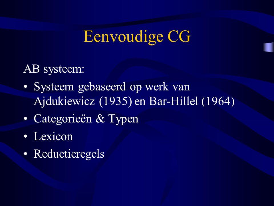 Eenvoudige CG AB systeem: Systeem gebaseerd op werk van Ajdukiewicz (1935) en Bar-Hillel (1964) Categorieën & Typen Lexicon Reductieregels