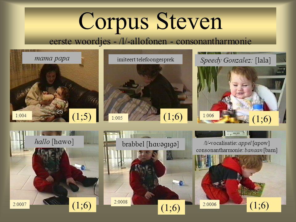 Corpus Steven eerste woordjes - /l/-allofonen - consonantharmonie (1;5) 1:004 mama papa (1;6) 1:005 imiteert telefoongesprek (1;6) 1:006 Speedy Gonzalez: [  ] (1;6) 2:0007 2:0008 (1;6) 2:0006 hallo [  ] brabbel [  ] /l/-vocalisatie: appel [  ] consonantharmonie: banaan [  ]