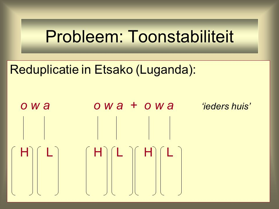 Probleem: Toonstabiliteit Reduplicatie in Etsako (Luganda): o w a 'huis' H L
