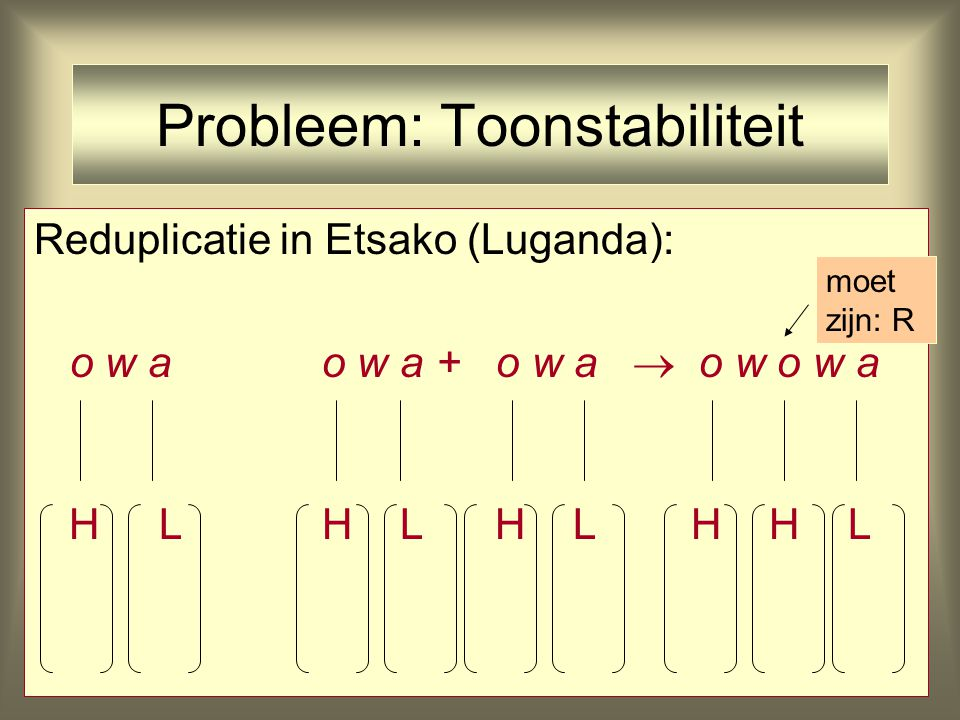 Probleem: Toonstabiliteit Reduplicatie in Etsako (Luganda): o w ao w a + o w a 'ieders huis' H LH L H L