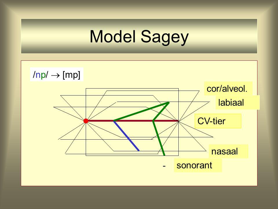 - CV-tier nasaal cor/alveol. labiaal sonorant /np//np/ Model Sagey
