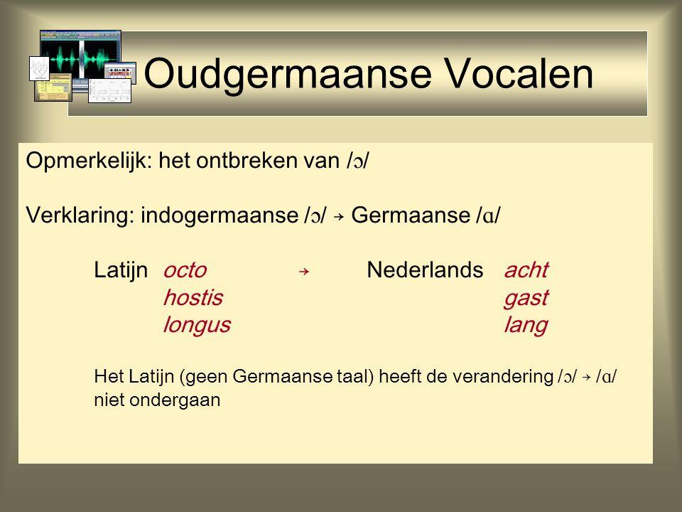 Oudgermaanse Vocalen Opmerkelijk: het ontbreken van /  / Verklaring: indogermaanse /  / → Germaanse /  / Latijn octo→Nederlandsacht hostisgast longuslang Het Latijn (geen Germaanse taal) heeft de verandering /  / → /  / niet ondergaan