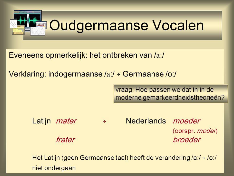 Oudgermaanse Vocalen Eveneens opmerkelijk: het ontbreken van /  :/ Verklaring: indogermaanse /  :/ → Germaanse /o:/ Latijn mater→Nederlandsmoeder (oorspr.