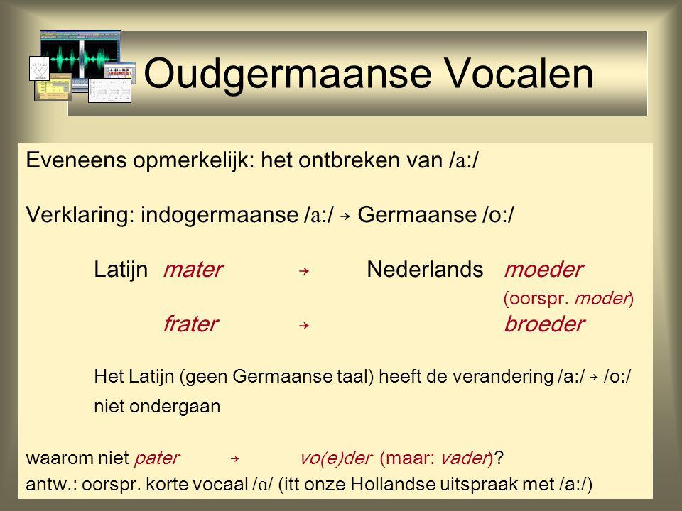 Oudgermaanse Vocalen Eveneens opmerkelijk: het ontbreken van /  :/ Verklaring: indogermaanse /  :/ → Germaanse /o:/ Latijn mater→Nederlandsmoeder (o