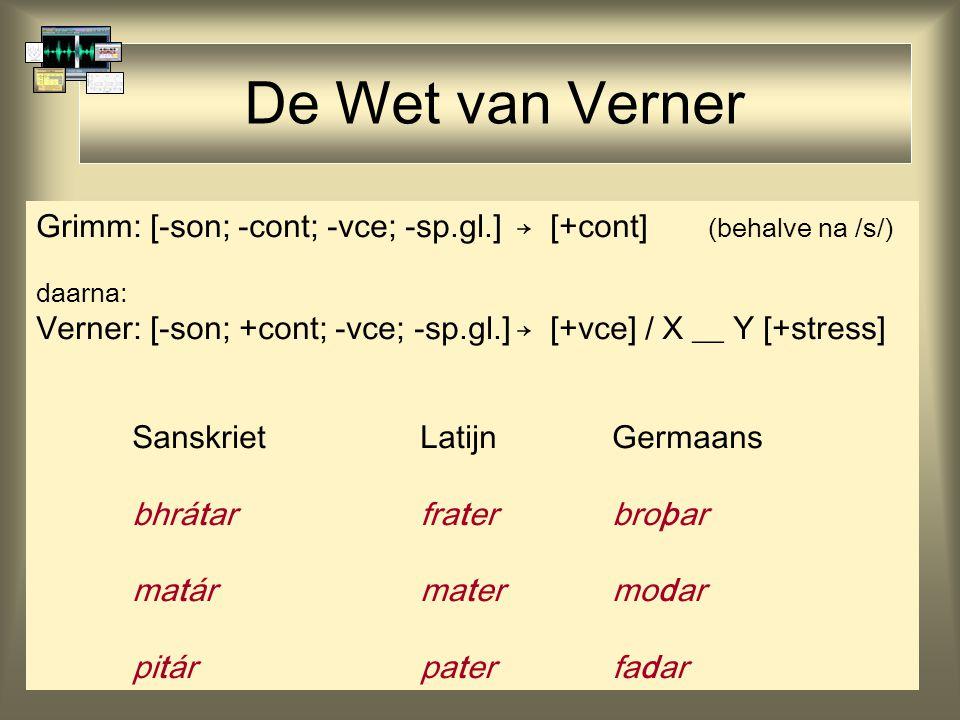 De Wet van Verner Grimm: [-son; -cont; -vce; -sp.gl.]→ [+cont] (behalve na /s/) daarna: Verner: [-son; +cont; -vce; -sp.gl.]→ [+vce] / X __ Y [+stress] SanskrietLatijnGermaans bhrátarfraterbroþar matármatermodar pitárpaterfadar