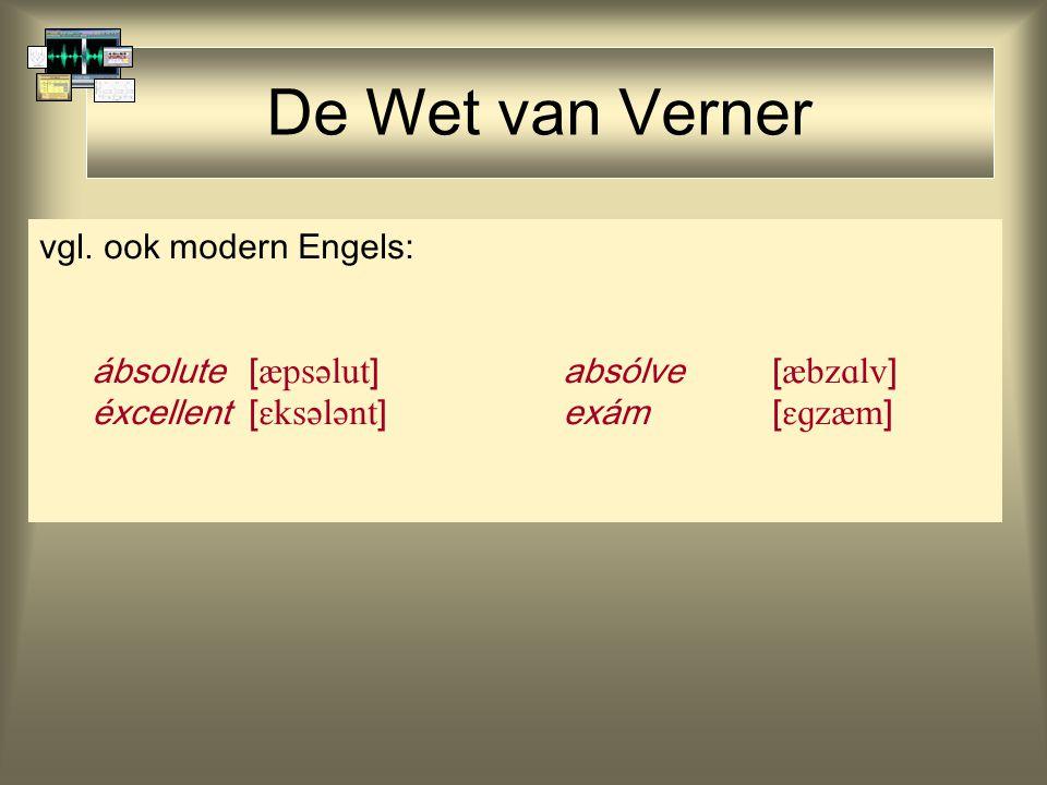 De Wet van Verner vgl. ook modern Engels: ábsolute [  ] absólve [  ] éxcellent[  ]exám[  ]