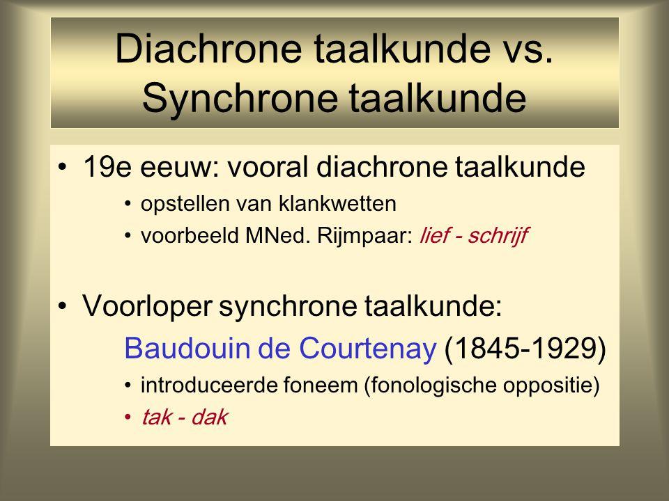 Diachrone taalkunde vs. Synchrone taalkunde 19e eeuw: vooral diachrone taalkunde opstellen van klankwetten voorbeeld MNed. Rijmpaar: lief - schrijf Vo