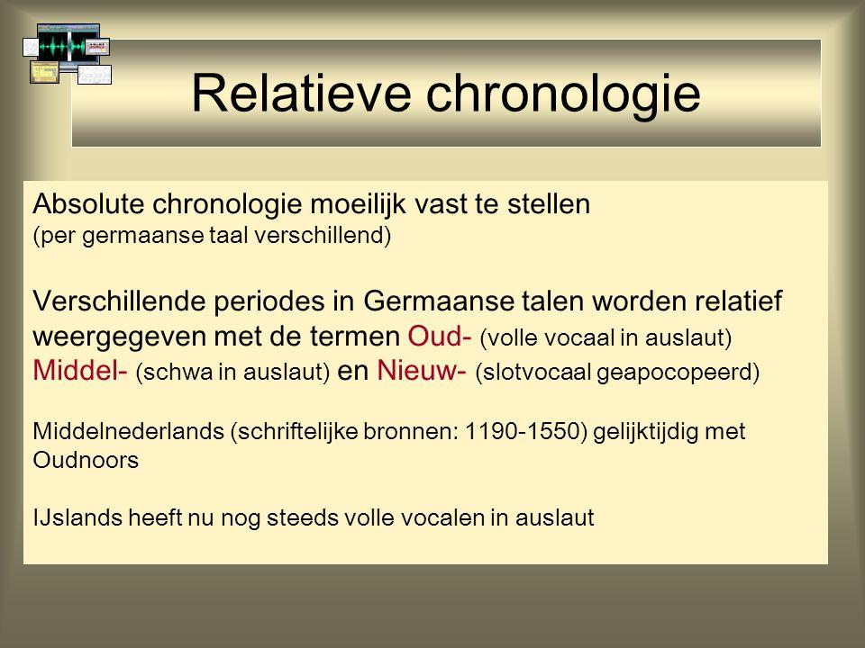 Relatieve chronologie Absolute chronologie moeilijk vast te stellen (per germaanse taal verschillend) Verschillende periodes in Germaanse talen worden relatief weergegeven met de termen Oud- (volle vocaal in auslaut) Middel- (schwa in auslaut) en Nieuw- (slotvocaal geapocopeerd) Middelnederlands (schriftelijke bronnen: 1190-1550) gelijktijdig met Oudnoors IJslands heeft nu nog steeds volle vocalen in auslaut