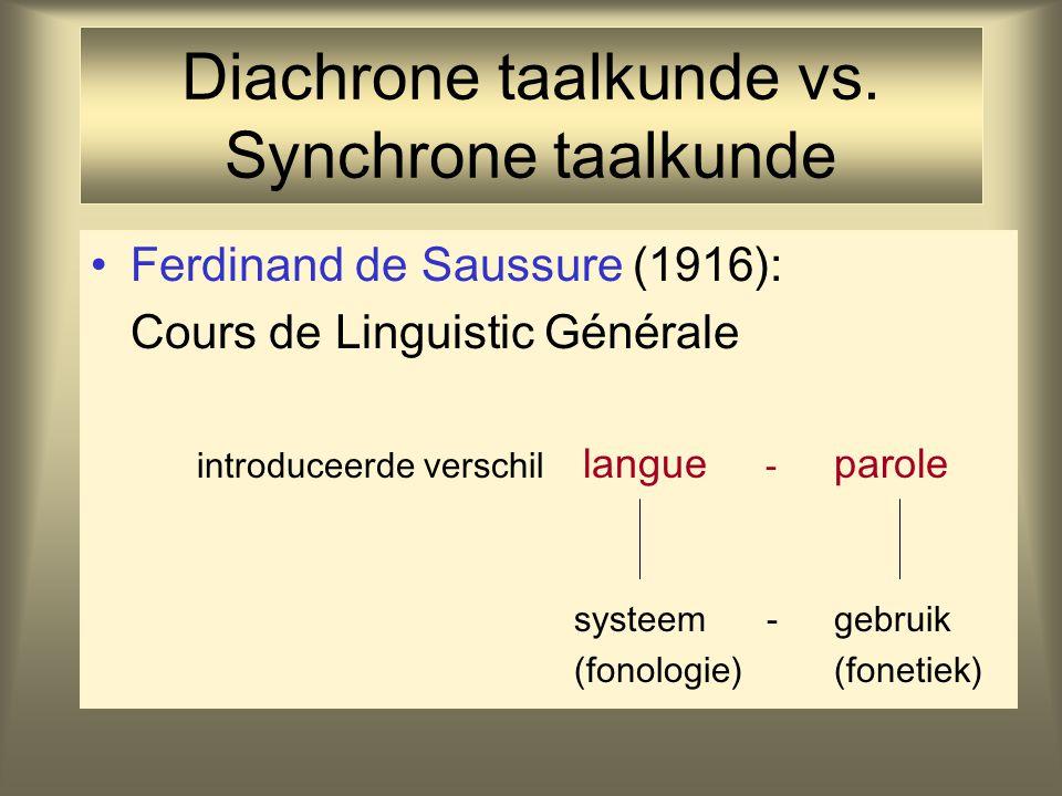Diachrone taalkunde vs. Synchrone taalkunde Ferdinand de Saussure (1916): Cours de Linguistic Générale introduceerde verschil langue - parole systeem