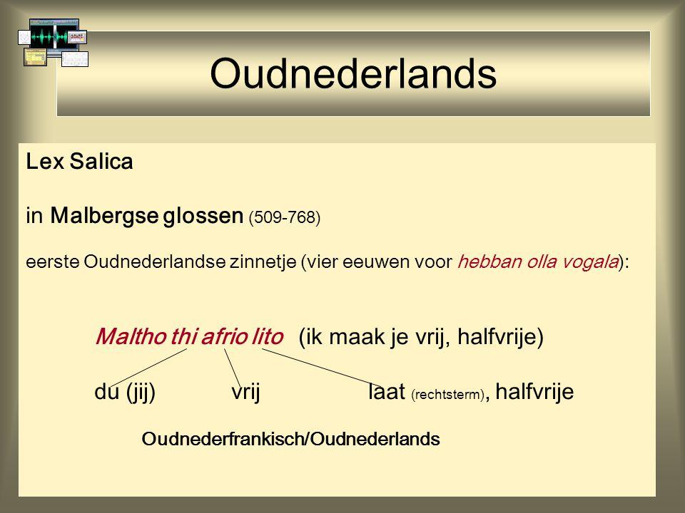 Oudnederlands Lex Salica in Malbergse glossen (509-768) eerste Oudnederlandse zinnetje (vier eeuwen voor hebban olla vogala): Maltho thi afrio lito (ik maak je vrij, halfvrije) du (jij)vrijlaat (rechtsterm), halfvrije Oudnederfrankisch/Oudnederlands