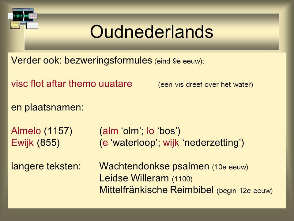 Oudnederlands Verder ook: bezweringsformules (eind 9e eeuw): visc flot aftar themo uuatare (een vis dreef over het water) en plaatsnamen: Almelo (1157)(alm 'olm'; lo 'bos') Ewijk (855)(e 'waterloop'; wijk 'nederzetting') langere teksten: Wachtendonkse psalmen (10e eeuw) Leidse Willeram (1100) Mittelfränkische Reimbibel (begin 12e eeuw)