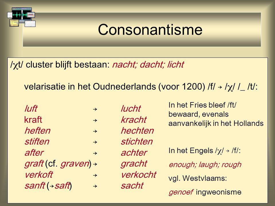 Consonantisme /  t/ cluster blijft bestaan: nacht; dacht; licht velarisatie in het Oudnederlands (voor 1200) /f/ → /  / /_ /t/: luft→lucht kraft→kracht heften→hechten stiften→stichten after→achter graft (cf.