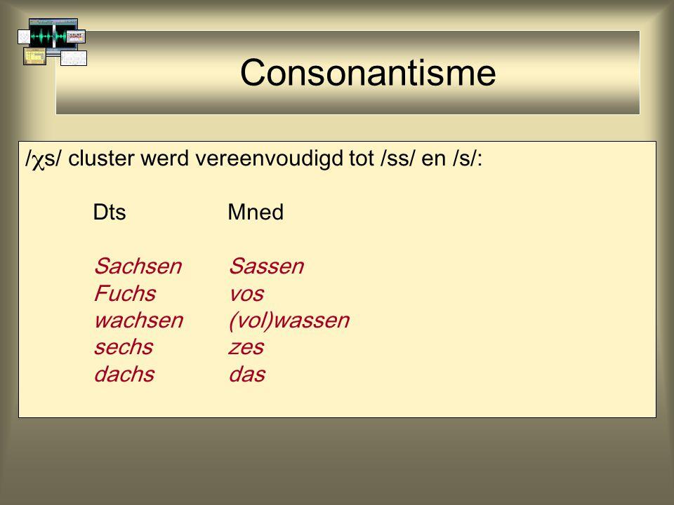 Consonantisme /  s/ cluster werd vereenvoudigd tot /ss/ en /s/: DtsMned SachsenSassen Fuchsvos wachsen(vol)wassen sechszes dachsdas