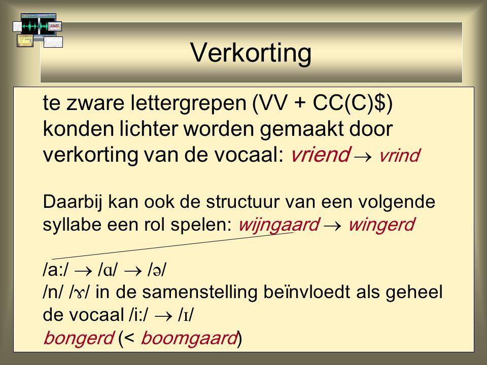 Verkorting te zware lettergrepen (VV + CC(C)$) konden lichter worden gemaakt door verkorting van de vocaal: vriend  vrind Daarbij kan ook de structuur van een volgende syllabe een rol spelen: wijngaard  wingerd /a:/  /  /  /  / /n/ /  / in de samenstelling beïnvloedt als geheel de vocaal /i:/  /  / bongerd (< boomgaard)