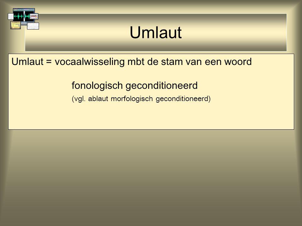 Umlaut Umlaut = vocaalwisseling mbt de stam van een woord fonologisch geconditioneerd (vgl. ablaut morfologisch geconditioneerd)