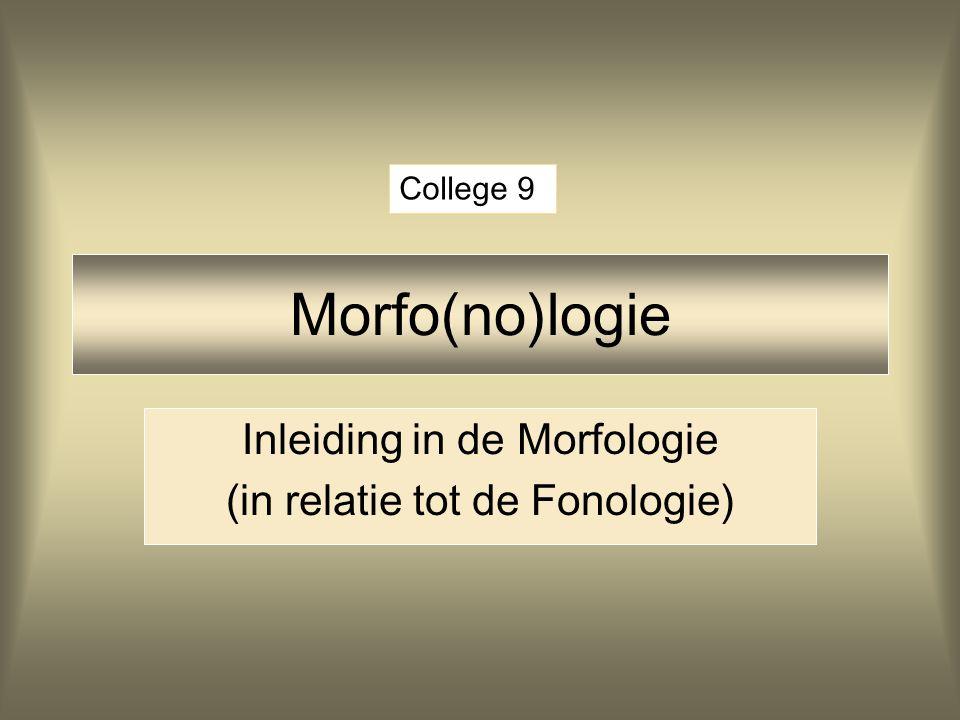 Inleiding Morfologie Eerste uur: inleiding indeling woorden woordvorming Tweede uur: diminutiefsuffix diminutiefsuffix in het Nederlands affixeigenschappen en het lexicon