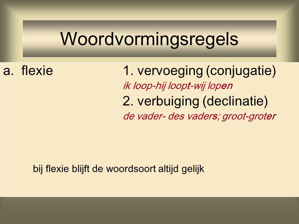 Woordvormingsregels a. flexie1. vervoeging (conjugatie) ik loop-hij loopt-wij lopen 2. verbuiging (declinatie) de vader- des vaders; groot-groter bij