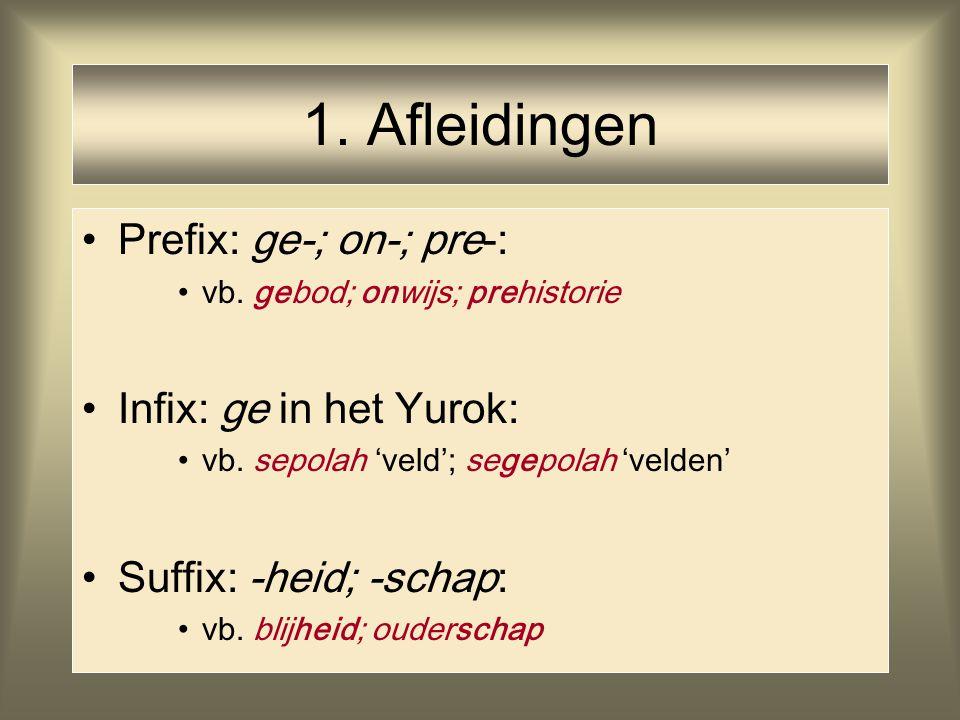 1. Afleidingen Prefix: ge-; on-; pre-: vb. gebod; onwijs; prehistorie Infix: ge in het Yurok: vb. sepolah 'veld'; segepolah 'velden' Suffix: -heid; -s