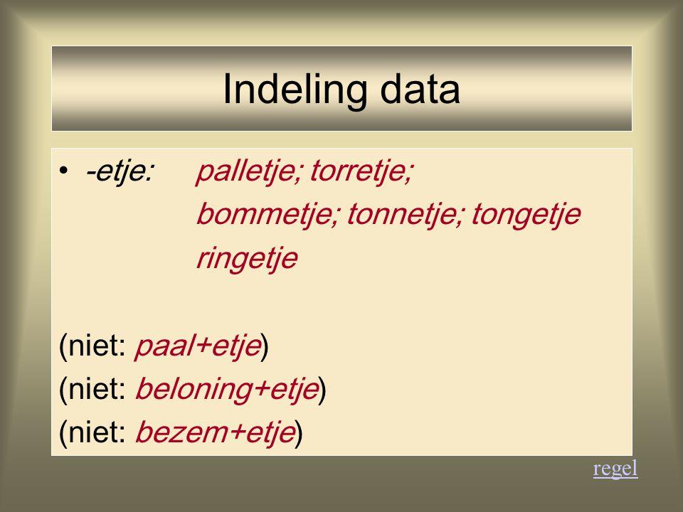 Indeling data -etje:palletje; torretje; bommetje; tonnetje; tongetje ringetje (niet: paal+etje) (niet: beloning+etje) (niet: bezem+etje) regel