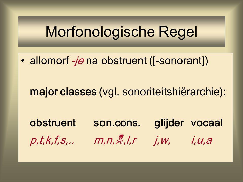 allomorf -je na obstruent ([-sonorant]) major classes (vgl. sonoriteitshiërarchie): obstruentson.cons. glijdervocaal p,t,k,f,s,..m,n, ,l,r j,w,i,u,a