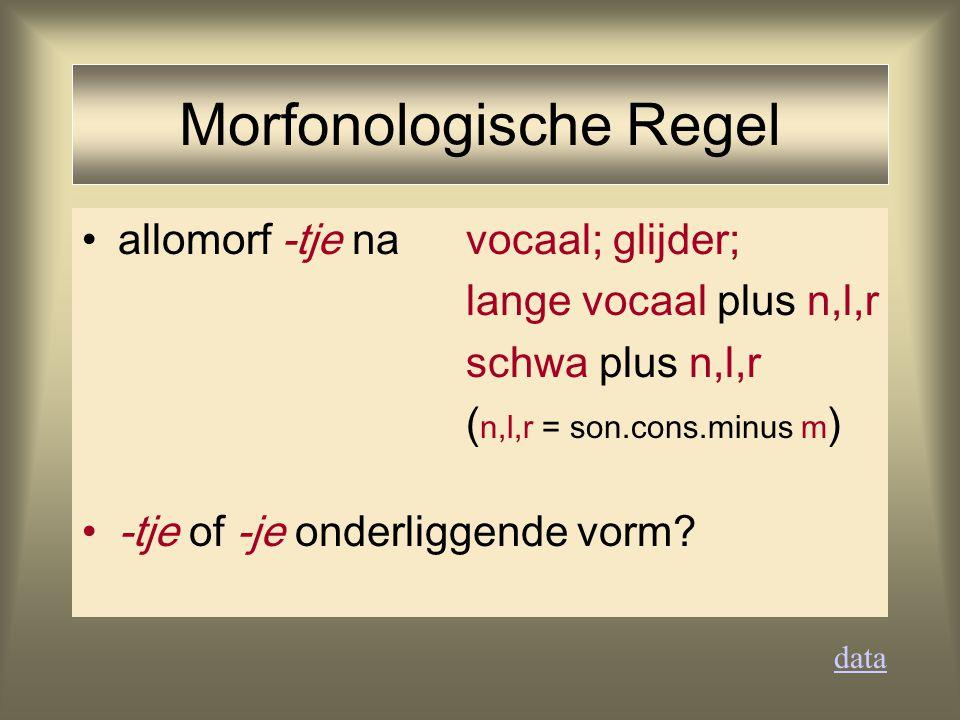 allomorf -tje na vocaal; glijder; lange vocaal plus n,l,r schwa plus n,l,r ( n,l,r = son.cons.minus m ) -tje of -je onderliggende vorm? data Morfonolo