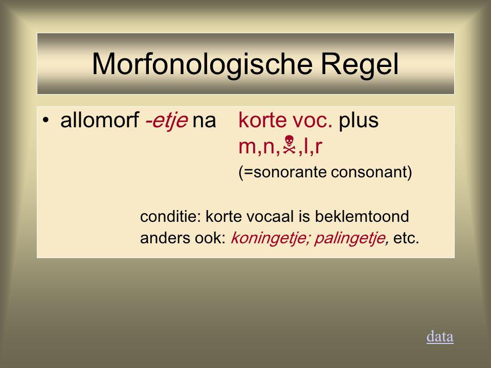 allomorf -etje na korte voc. plus m,n, ,l,r (=sonorante consonant) conditie: korte vocaal is beklemtoond anders ook: koningetje; palingetje, etc. dat