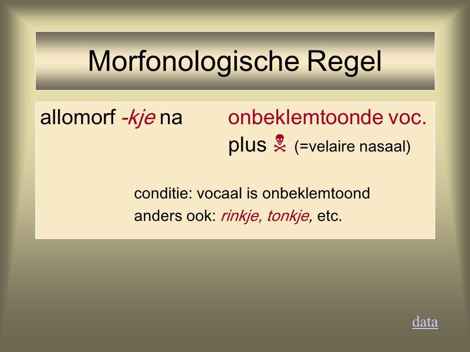 allomorf -kje na onbeklemtoonde voc. plus  (=velaire nasaal) conditie: vocaal is onbeklemtoond anders ook: rinkje, tonkje, etc. data Morfonologische