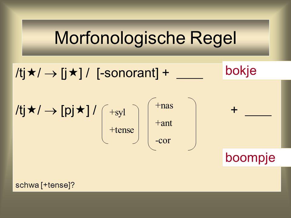 /tj  /  [j  ] / [-sonorant] + ____ /tj  /  [pj  ] / + ____ schwa [+tense]? Morfonologische Regel +syl +tense +nas +ant -cor bokje boompje