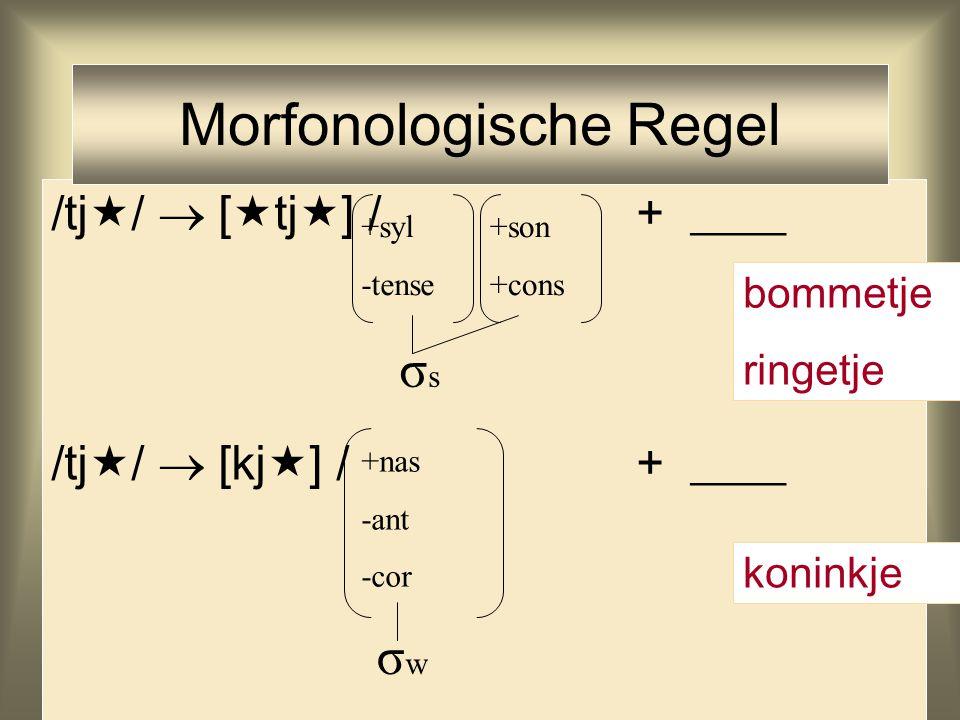 /tj  /  [  tj  ] / + ____ /tj  /  [kj  ] / + ____ Morfonologische Regel +syl -tense +son +cons +nas -ant -cor σsσs σwσw bommetje ringetje konin