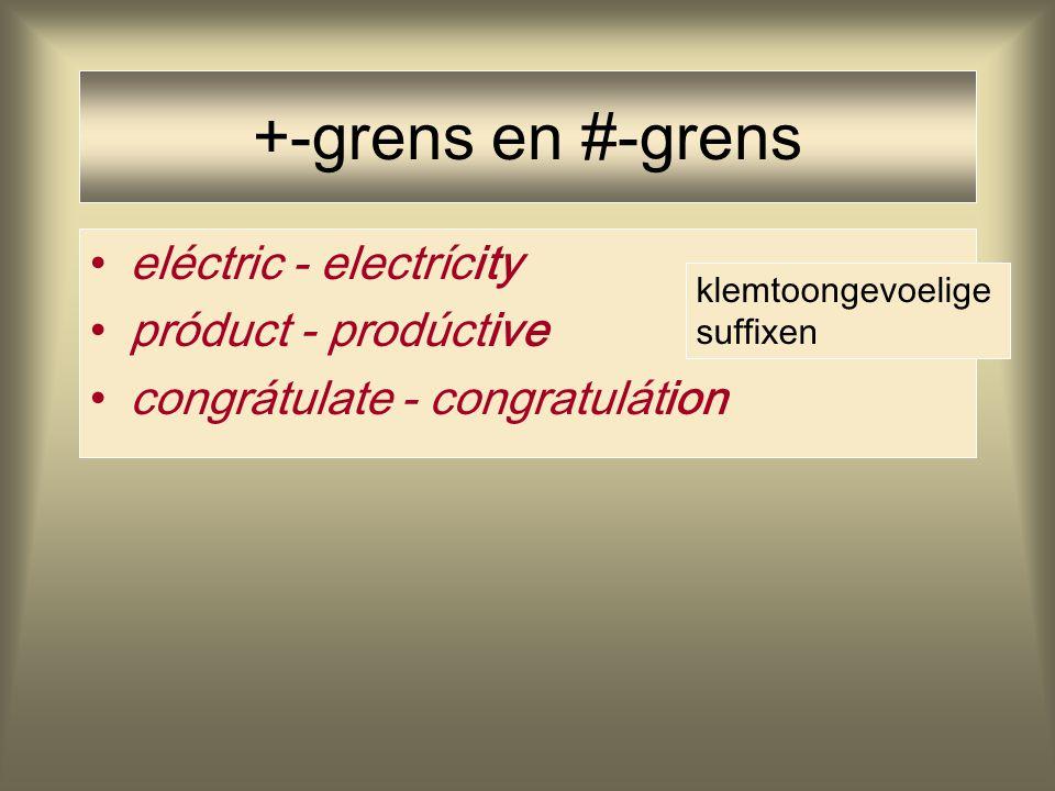 +-grens en #-grens eléctric - electrícity próduct - prodúctive congrátulate - congratulátion klemtoongevoelige suffixen