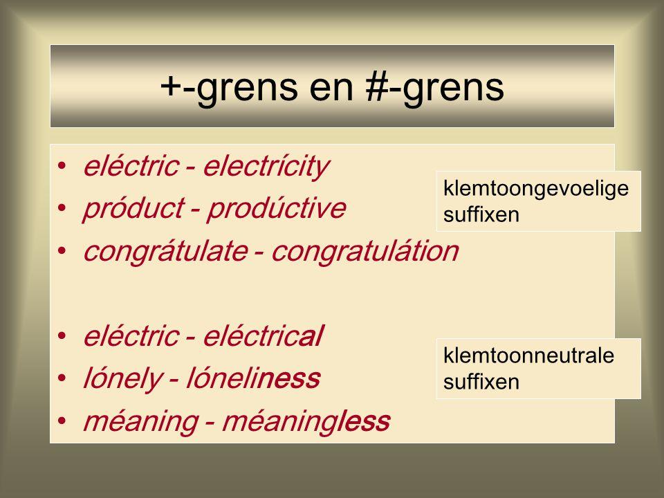 +-grens en #-grens eléctric - electrícity próduct - prodúctive congrátulate - congratulátion eléctric - eléctrical lónely - lóneliness méaning - méani