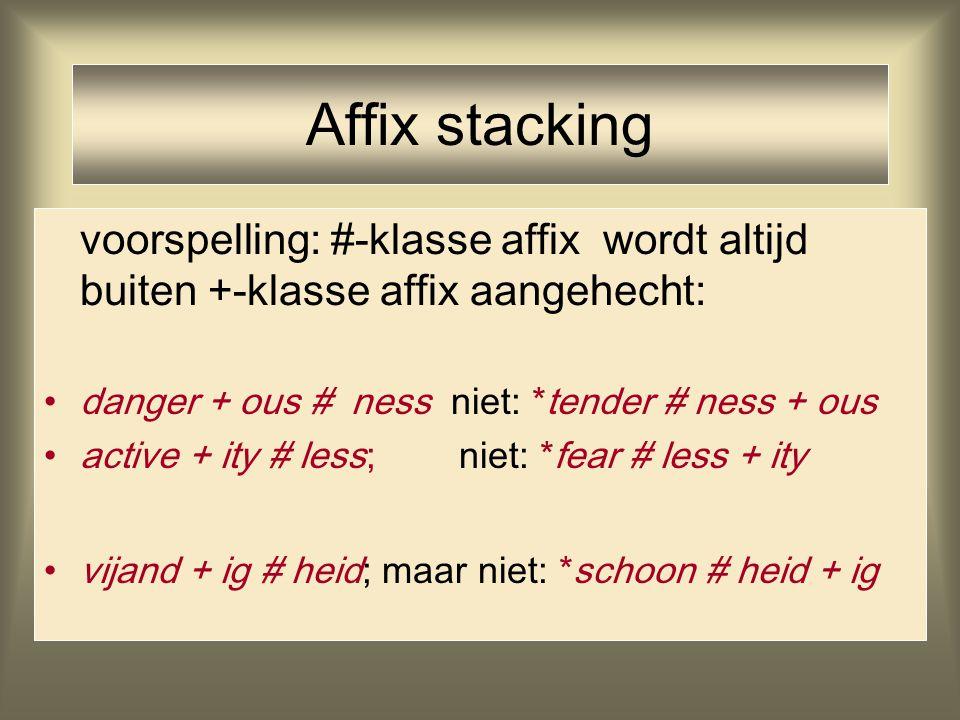 Affix stacking voorspelling: #-klasse affix wordt altijd buiten +-klasse affix aangehecht: danger + ous # ness niet: *tender # ness + ous active + ity