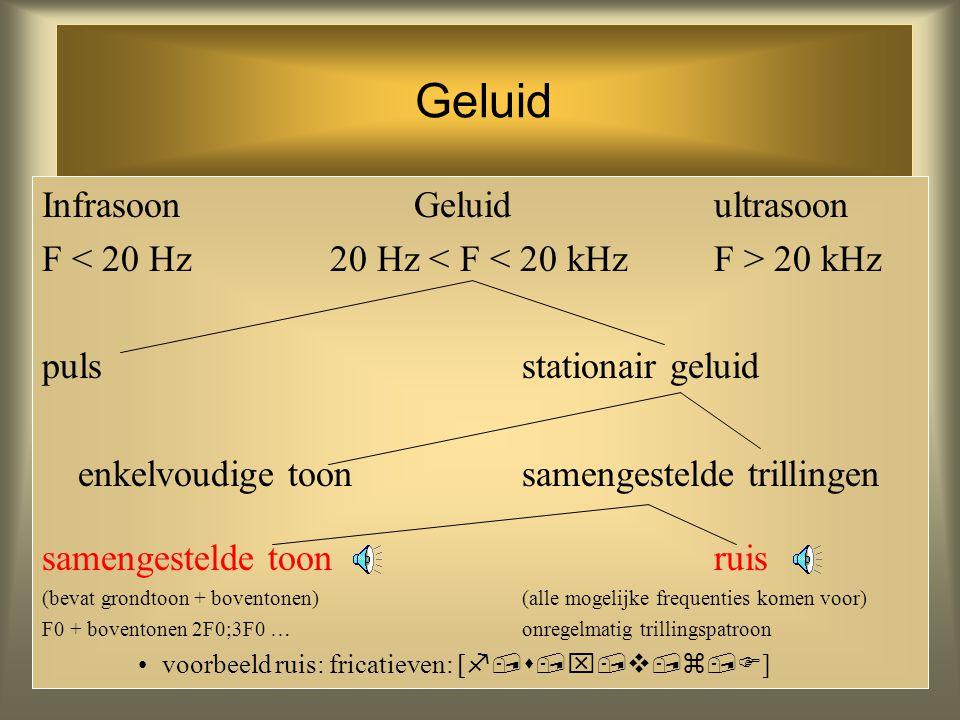 20 Geluid Infrasoon Geluidultrasoon F 20 kHz puls stationair geluid enkelvoudige toonsamengestelde trillingen (bevat 1 frequentie)(gelijktijdig meerde