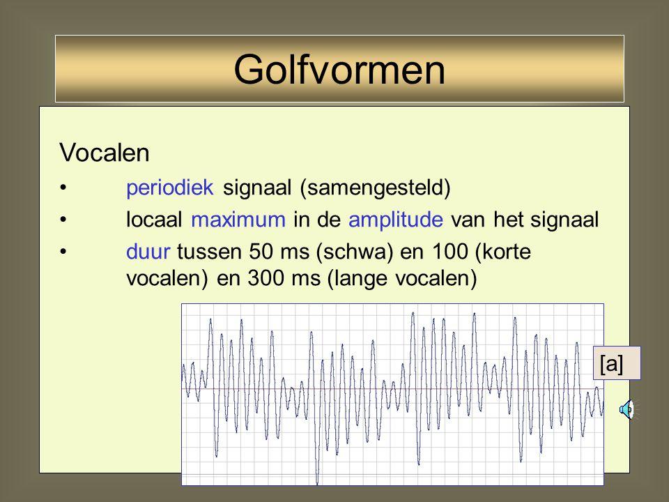 22 Periodieke golven: herhaling van zichzelf na een periode T - stemhebbende klanken vocalen, halfvocalen, nasalen, liquidae, stemhebbende obstruenten
