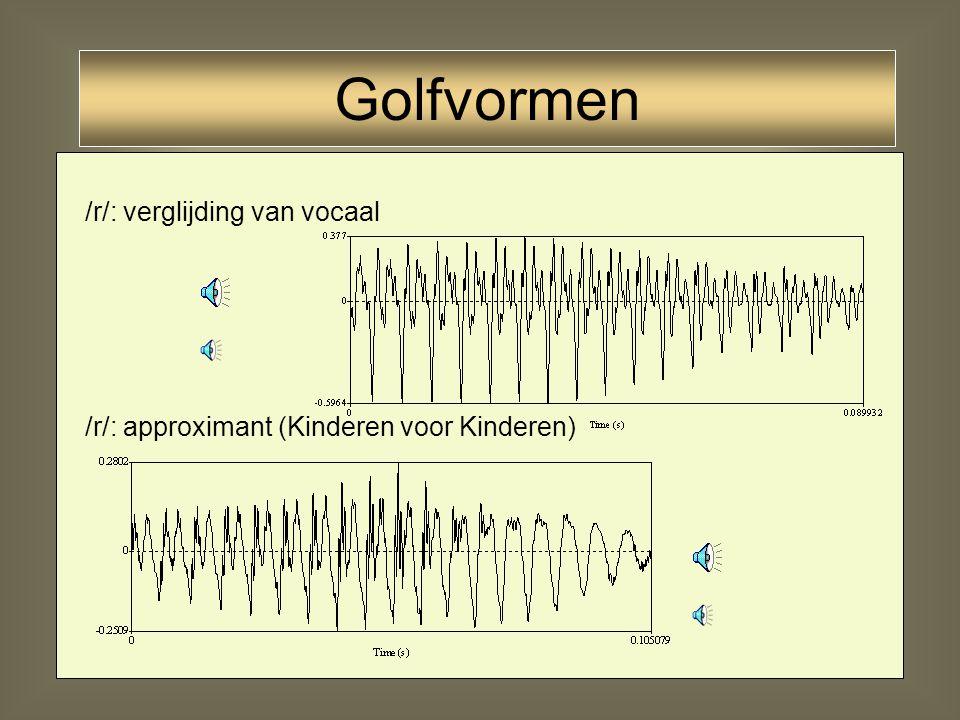 32 Lateralen /l/: moeilijk te onderscheiden van nasalen (iets scherpere vormen) [l] Golfvormen