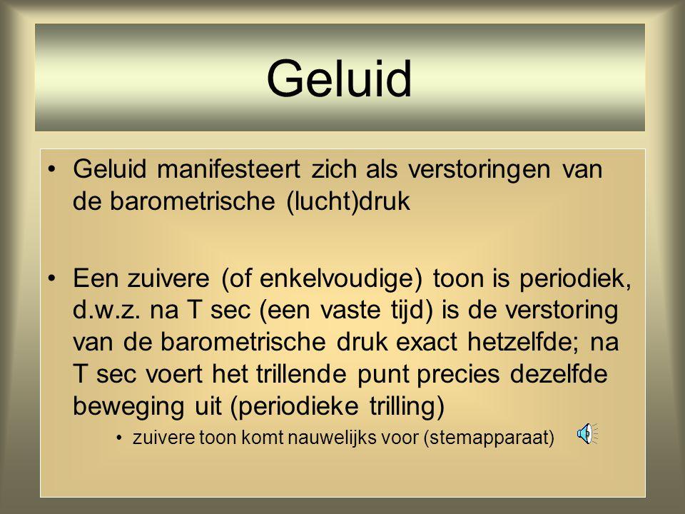 4 Geluid manifesteert zich als verstoringen van de barometrische (lucht)druk Een zuivere (of enkelvoudige) toon is periodiek, d.w.z.