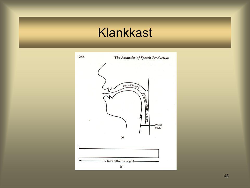45 Het spraakkanaal boven de glottis filtert het brongeluid zodanig dat bepaalde harmonischen gedempt worden, terwijl andere juist versterkt worden De