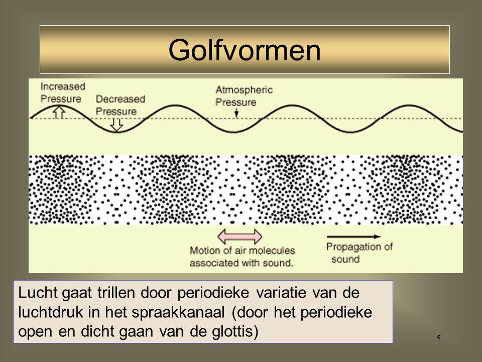 55 resonantie: veroorzaakt door de gezamenlijke volumes van de achterholte, de voorholte en het volume van de constrictie zelf F1 van vocalen (eerste formant) voor-vocalen: lage resonantiefrequentie achterholte, F3 hogere resonantiefrequentie voorholte, F2 F2 en F3 dicht bij elkaar achter-vocalen: hogere resonantiefrequentie van achterholte, F3 lagere resonantiefrequentie van voorholte, F2 F2 en F3 ver uit elkaar Formanten: vocalen