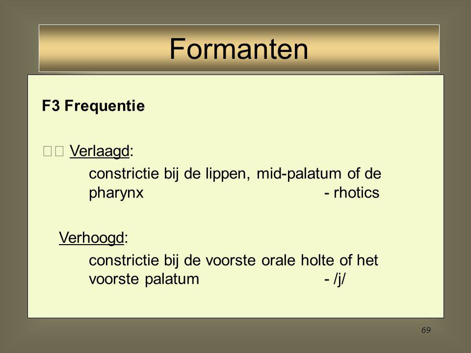 68 F2 Frequentie Verlaagd: constrictie bij lippen of achterste of orale holte boven de pharynx- /u/ Verhoogd: constrictie in voorste orale holte achte