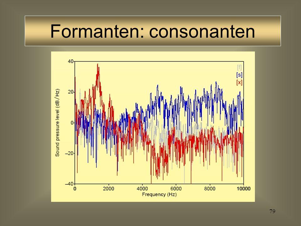 78 Fricatieven Stemloze fricatieven bestaan uit een periode van frictie, geproduceerd in de orale constrictie De spectrale eigenschappen van deze fric