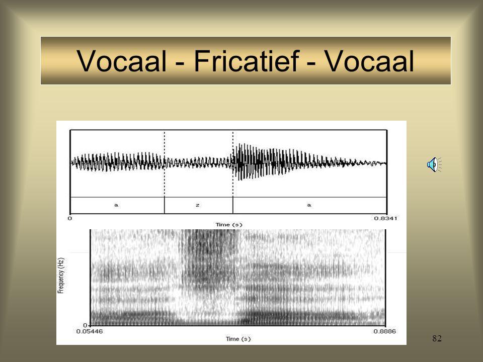 81 Stemhebbende fricatieven: naast hoge 'formanten' een lage periodieke component [aza] Formanten: consonanten