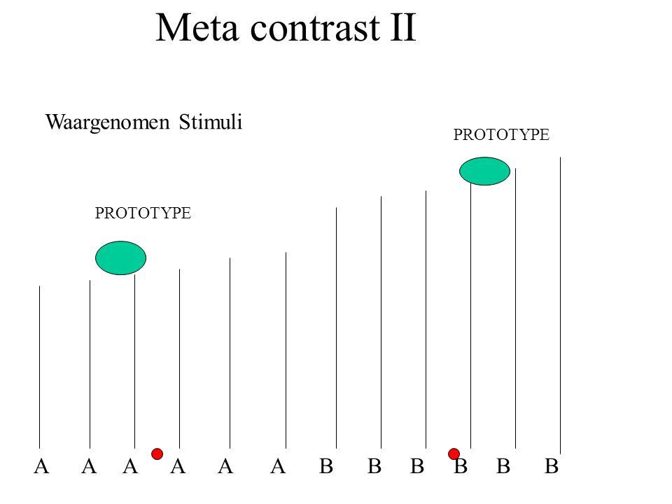 Meta contrast II A A A A A A B B B B B B Waargenomen Stimuli PROTOTYPE