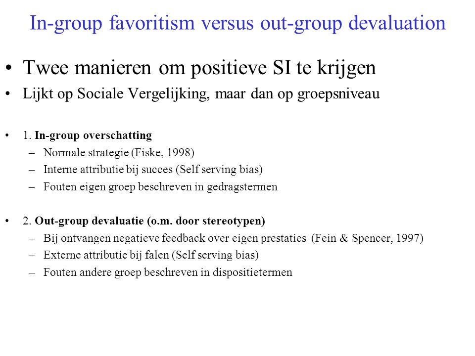 In-group favoritism versus out-group devaluation Twee manieren om positieve SI te krijgen Lijkt op Sociale Vergelijking, maar dan op groepsniveau 1.