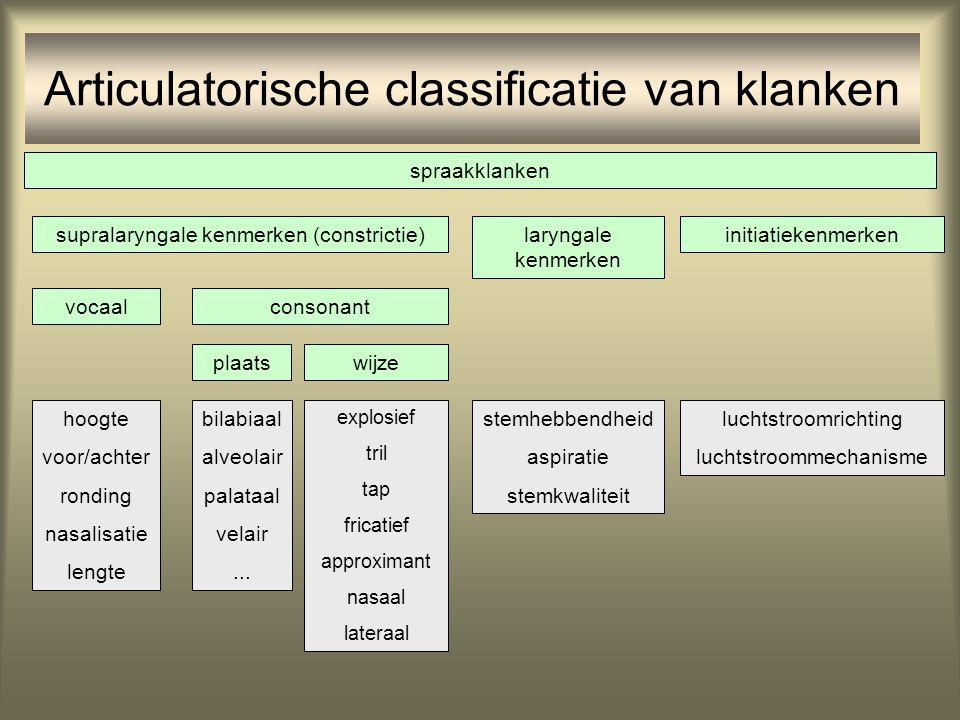 initiatiekenmerkenlaryngale kenmerken supralaryngale kenmerken (constrictie) vocaalconsonant plaatswijze stemhebbendheid aspiratie stemkwaliteit lucht